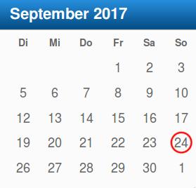 Kalenderblatt September 2017 mit Datum der nächsten Bundestagswahlen