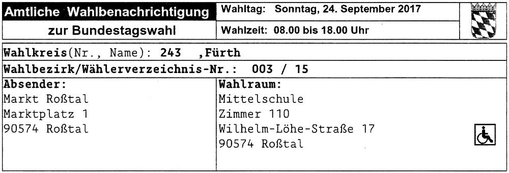 Wahlbenachrichtigung Bundestagswahl