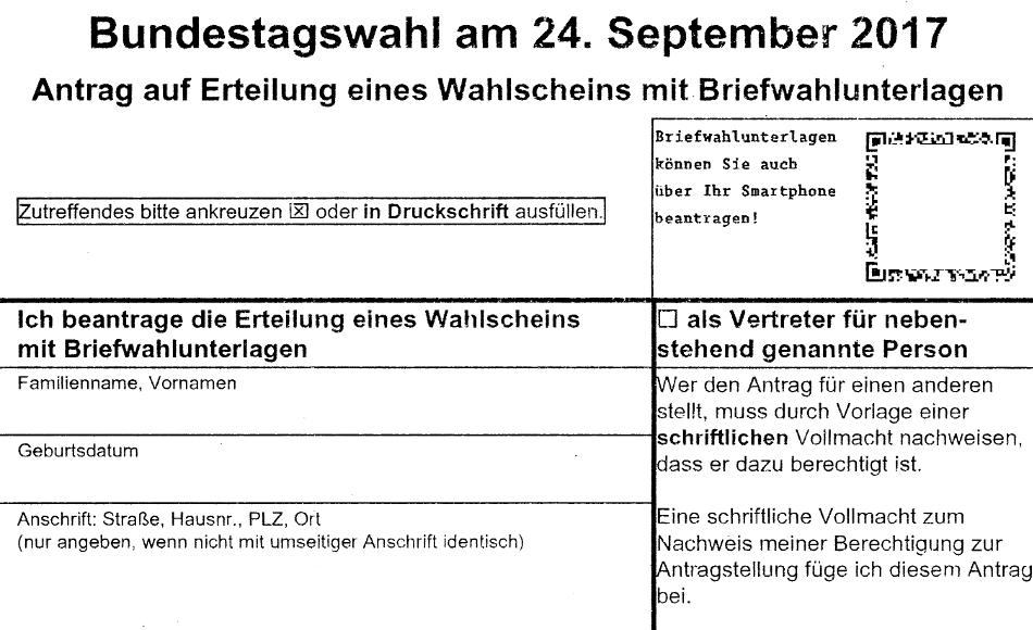 Wahlschein Bundestagswahl
