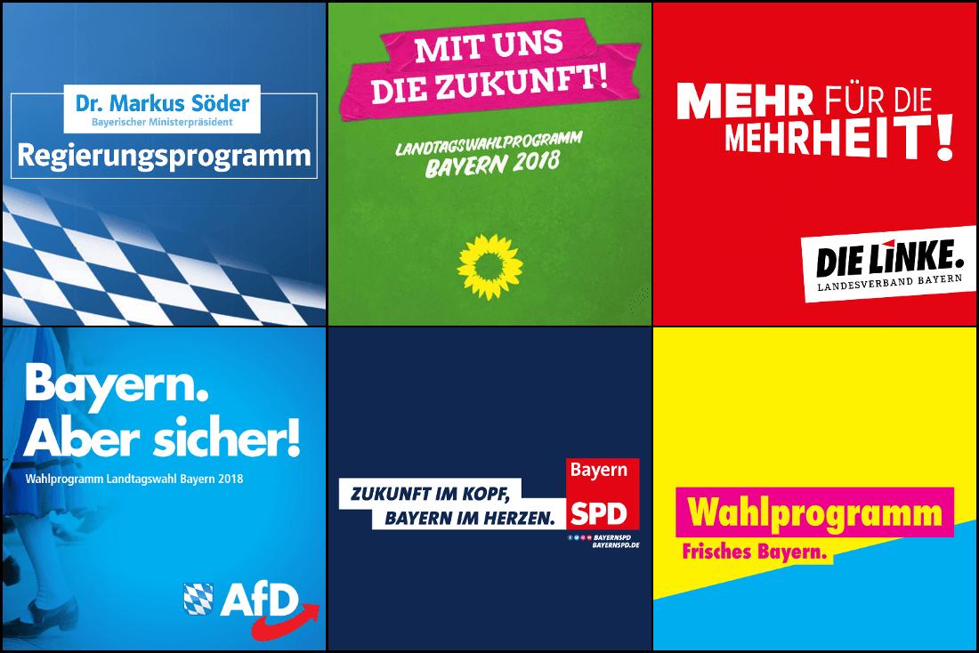 Wahlprogramme aller Parteien für die Landtagswahl in Bayern