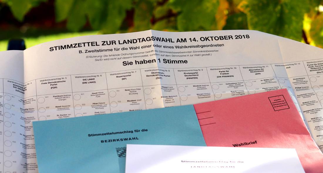 Wahlunterlagen für die Landtagswahl und Bezirktagswahl in Bayern (Breifwahl, Stimmzettel und Wahlumschläge)