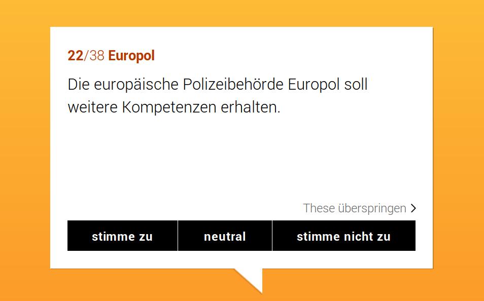 Europawahl 2019 - Wahl-O-Mat (Beispiel einer Frage)
