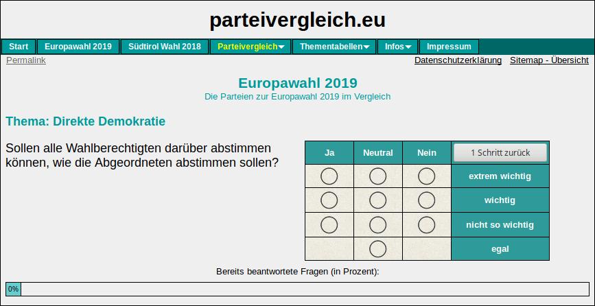 Parteivergleich.eu, Wahlhilfe zur Europawahl