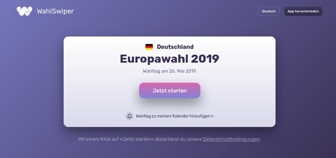 WahlSwiper - Wahl-Empfehlungs-Anwendung zur Europawahl