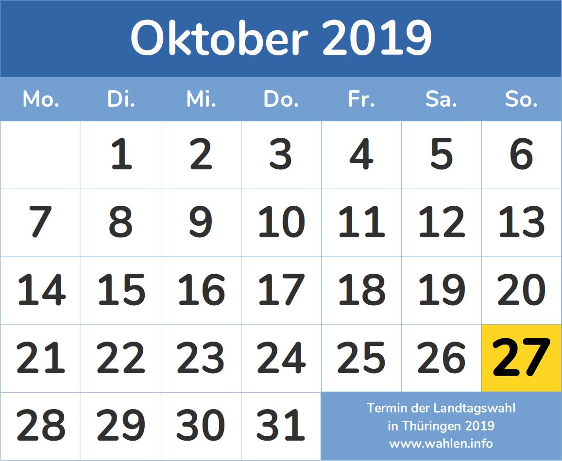 Termin der Landtagswahl in Thüringen 2019