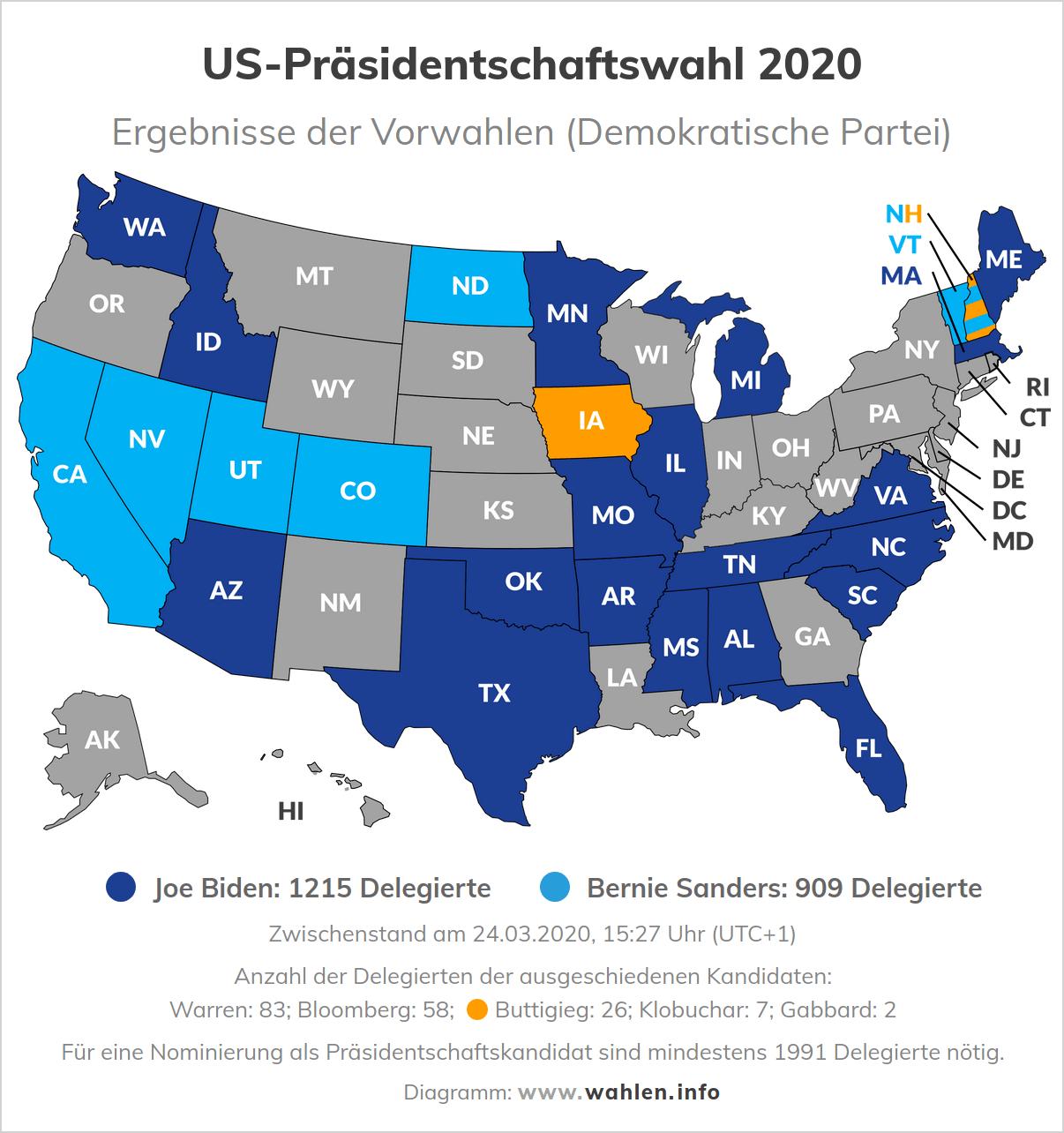 Präsidentschaftswahl in den USA - Ergebnisse der Vorwahlen der Demokraten (Karte)