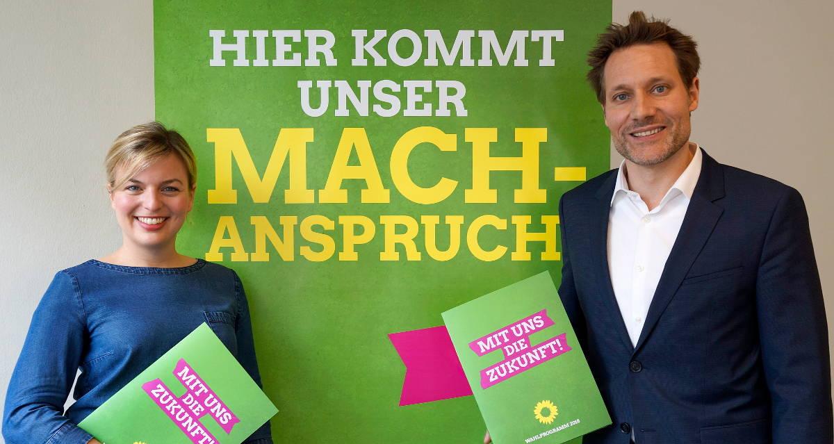 Kandidaten der Grünen Bayern bei der Vorstellung des Programms für die Landtagswahl 2018